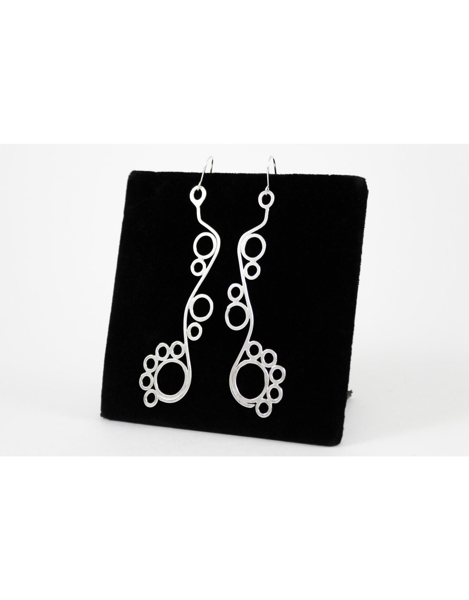 Karen Graham Long Wave Circle Earrings by Karen Graham