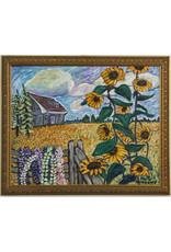 Anita Ouellette Sunflowers, Lupins, Farmhouse by Anita Ouellette