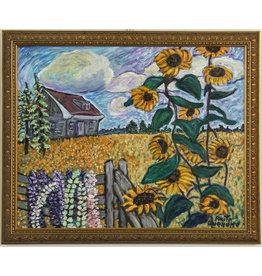 Anita Ouellette Sunflowers, Lupins, Farm House by Anita Ouellette