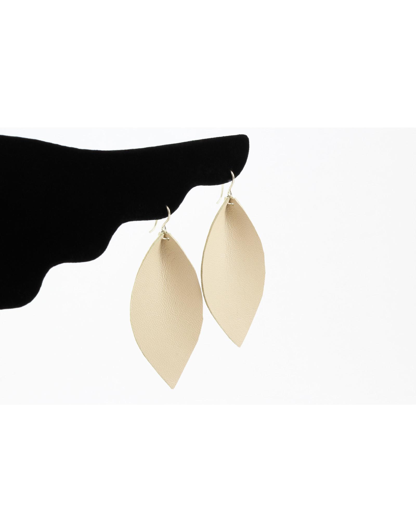 Jacqueline Finn Large Leather Leaf Earrings by Jacqueline Finn