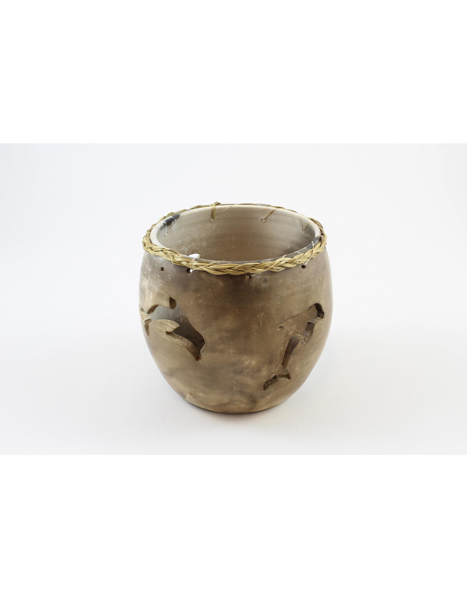 Nancy Oakley Dolphin Pierced Pot by Nancy Oakley