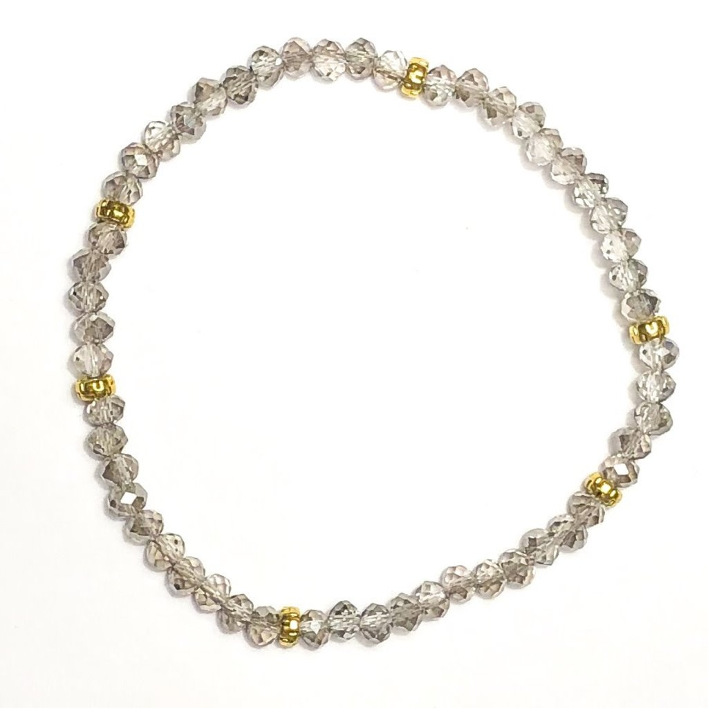 My Fun Colors Mini Crystal Bracelet Grey with Gold Accent