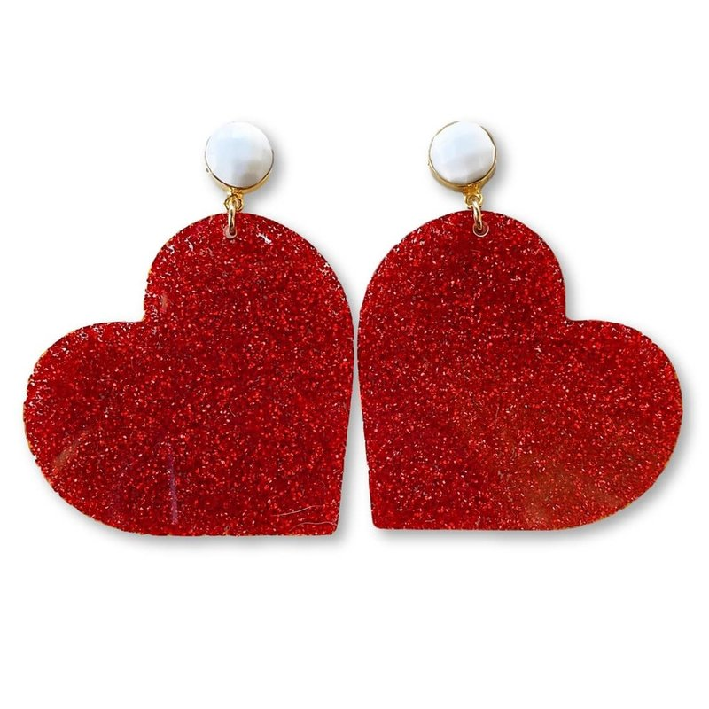 Team RLN Valentine's Party - Red Glitter Acrylic Heart with White Agate