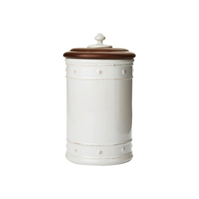 Juliska Small Canister with Wooden Lid B&T White 10''