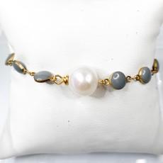 Ali and Bird b023dove/pea dove enamel chain, pearl