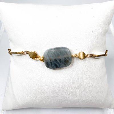 Ali and Bird b023w/lab white enamel, labradorite bracelet