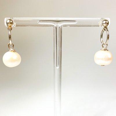 Ali and Bird e004sbar/med medium baroque pearl on silver earrings