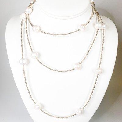 Ali and Bird 724sbar/med medium baroque pearl on silver Henrietta