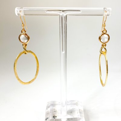 Ali and Bird e037gch Champagne crystal, gold earring