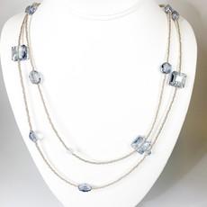 Ali and Bird 724sbl blue crystal on silver Henrietta necklace