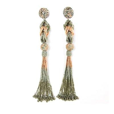 Allie Beads Allie Beads Jackie Pink Tassel Earrings