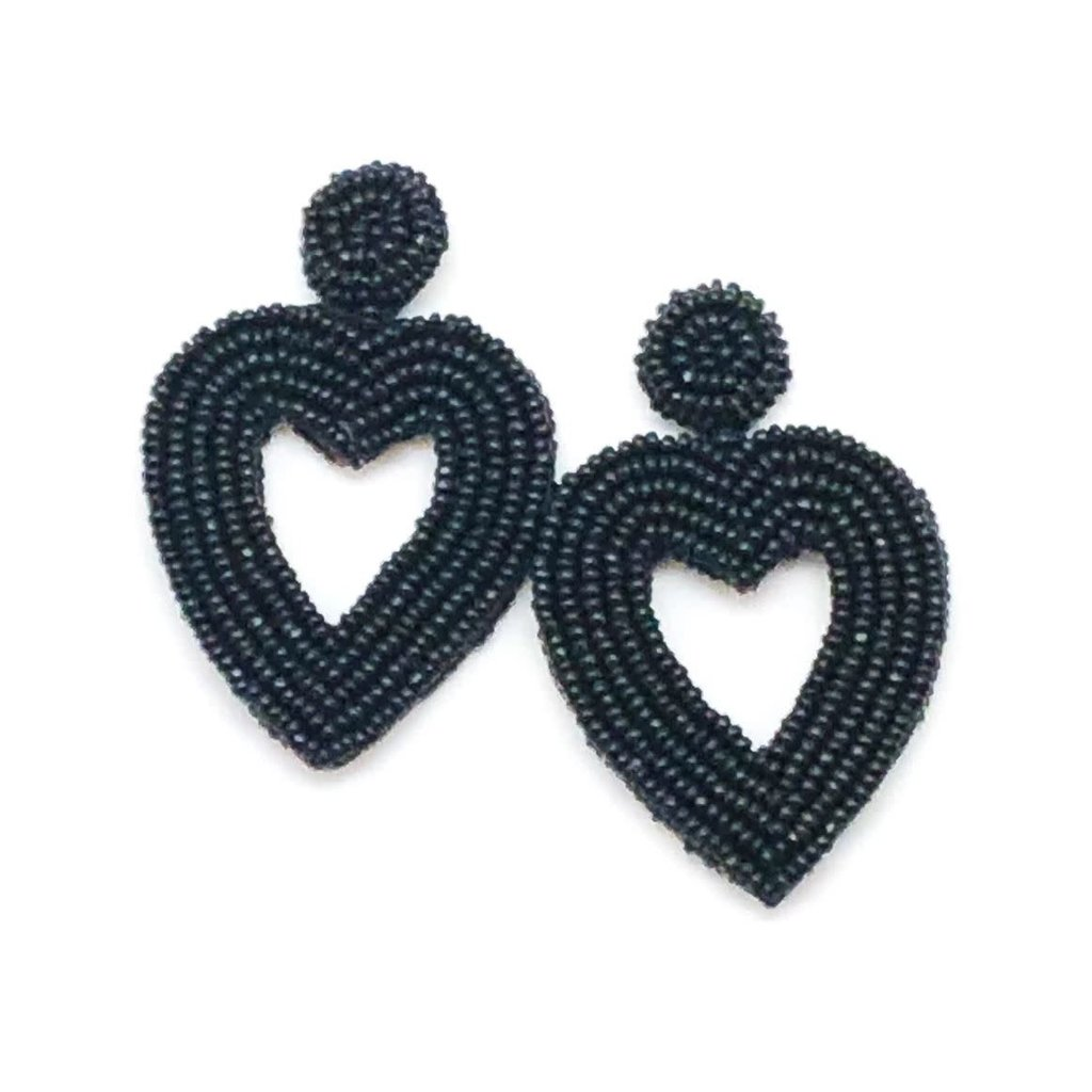 Allie Beads Beaded Heart Earrings Black