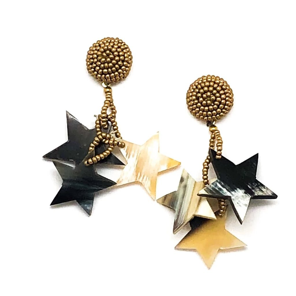 Allie Beads Allie Beads Multi Resin Star Earrings