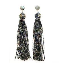 Allie Beads Allie Beads Sparkle Tassel Earrings
