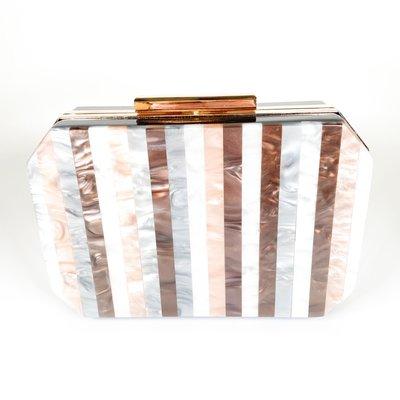 Amishi White/Pearl Stripe Handbag