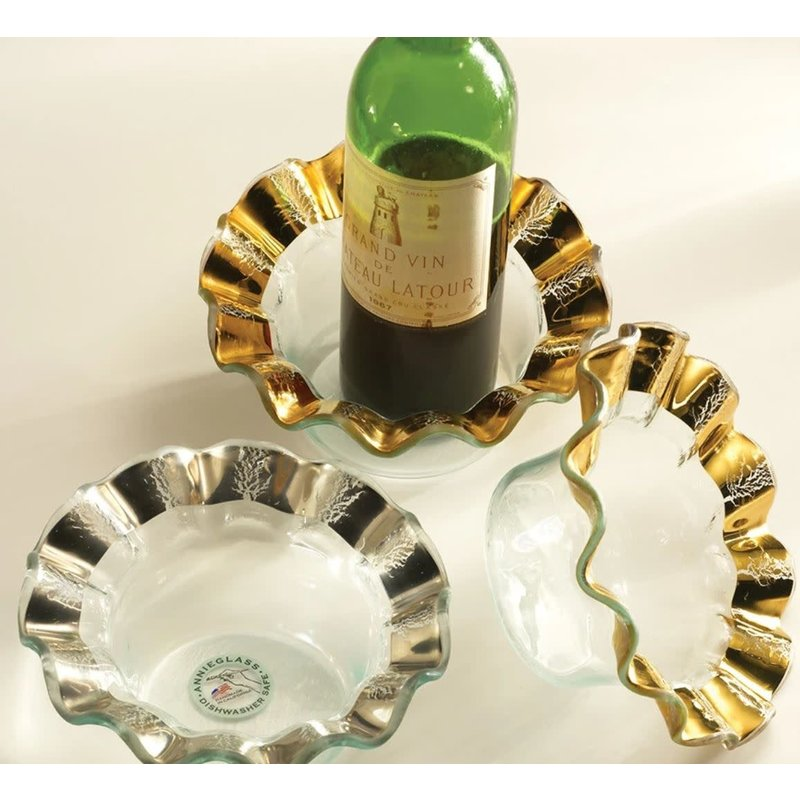 Annie Glass Annie Glass Gold 7 1/2'' RUFFLE WINE COASTER