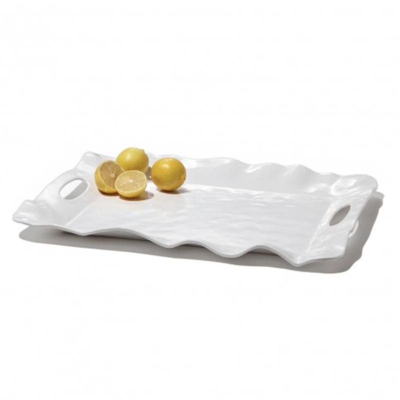 Beatriz Ball VIDA Havana rect tray w/handles white