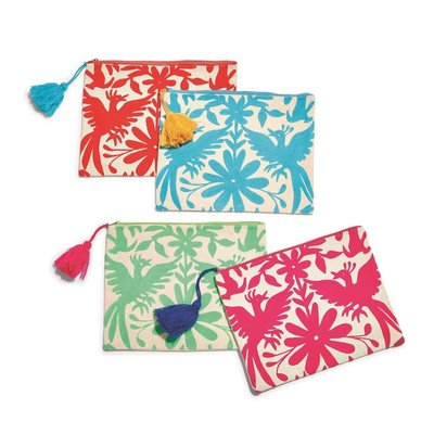 Two's Company Embroider Multi Pouch Blue
