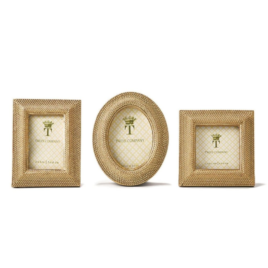 Two's Company Golden Dot Frame Rectangle