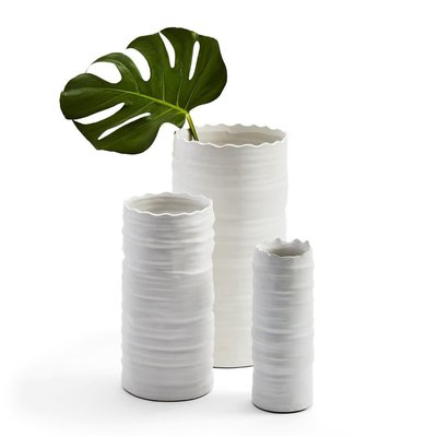Two's Company White Organic Cylinder Vase Medium