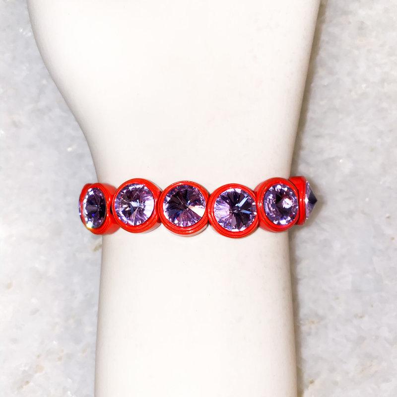 Tova Pink Painted Stretch Bracelet with Lilac Swarovski Crystal