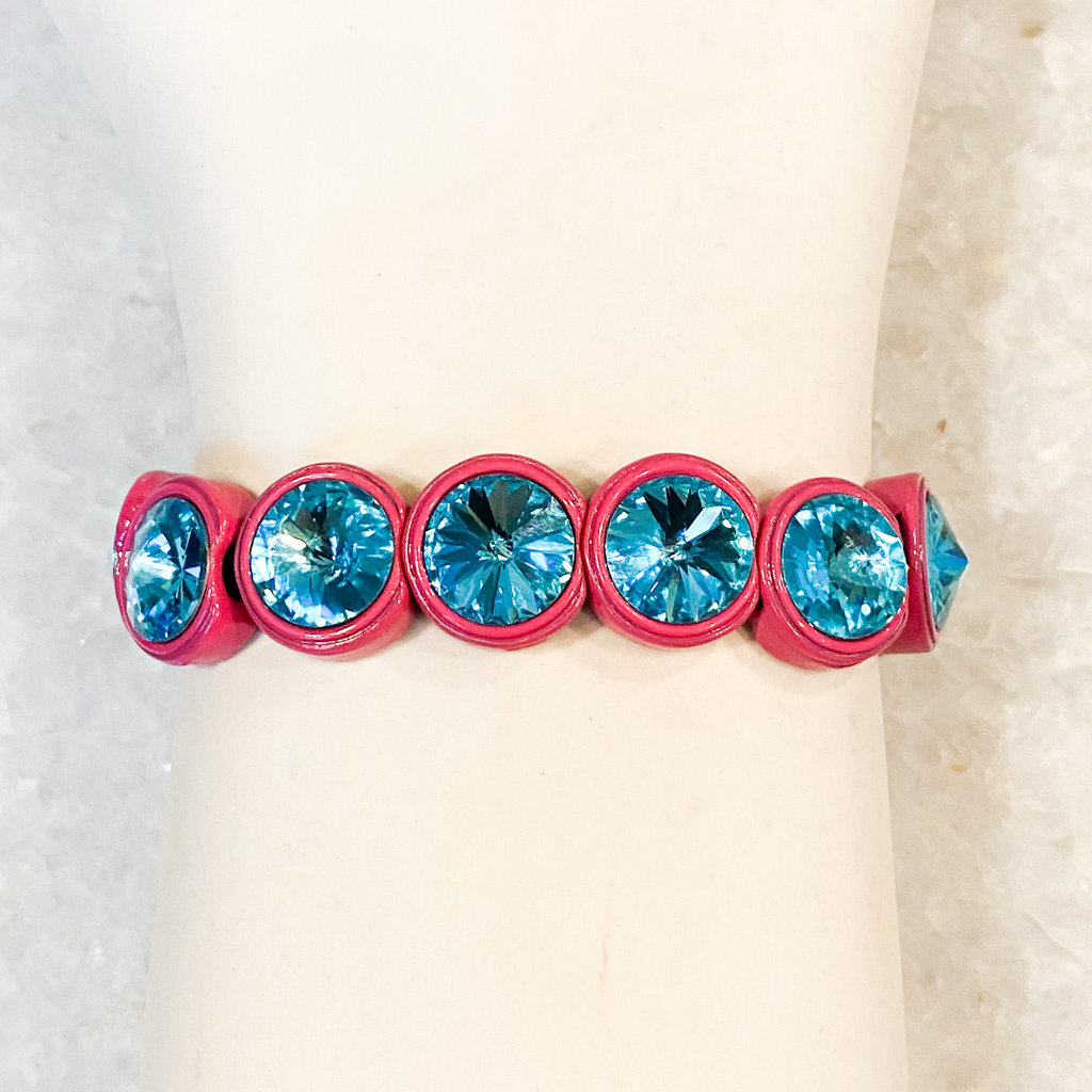 Tova Magenta Painted Stretch Bracelet with Turquoise Swarovski Crystal