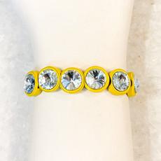 Tova Yellow Painted Stretch Bracelet with Light Blue Swarovski Crystal