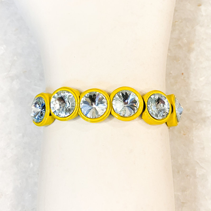 Tova Yellow Painted Stretch Bracelet with Light Blue Swarovski Crystal