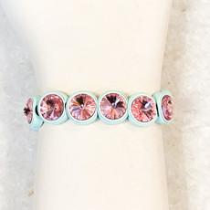 Tova Light Blue Painted Stretch Bracelet with Pink Swarovski Crystal
