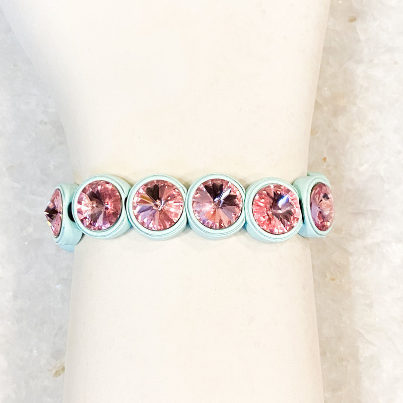 Tova Light Blue Painted Stretch Bracelet with Pink Swarovski Crystal