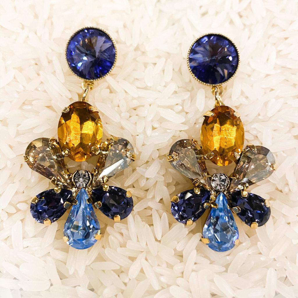 Tova Antique Gold Drop Flower Earrings with Indigo Swarovski Crystals