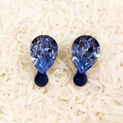 Tova Light Blue Swarovski Teardrop Earring with Navy Base