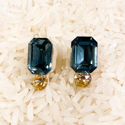 Tova Neutral Base with Blue Swarovski Crystal and Gold Crystal