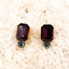 Tova Yellow Base with Purple Swarovski Crystal and Blue Stone