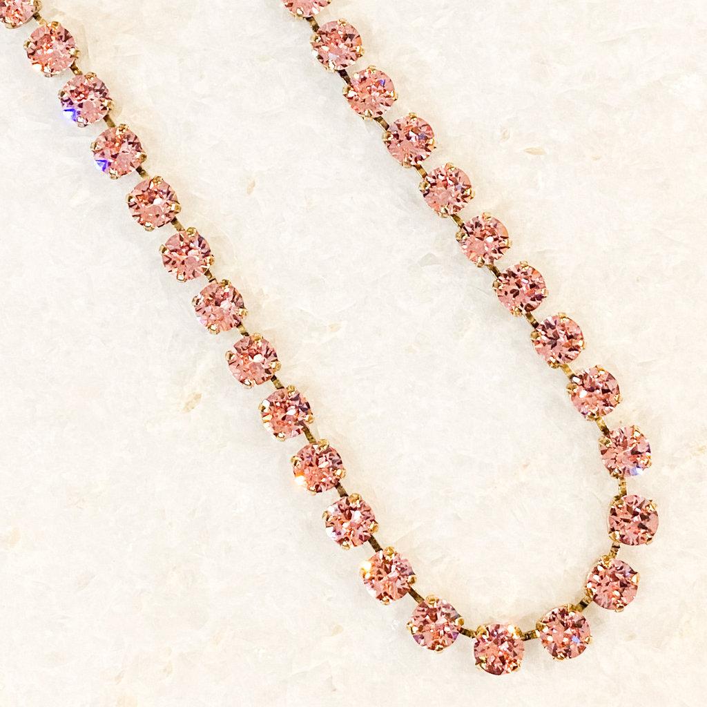 Tova Antique Gold Plated Brass Pink Swarovski Crystal Necklace
