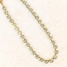 Tova Antique Gold Plated Brass Green Swarovski Crystal Necklace