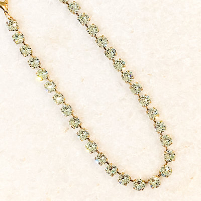 Tova Antique Gold Plated Brass Green Swarovski Crystal Necklace