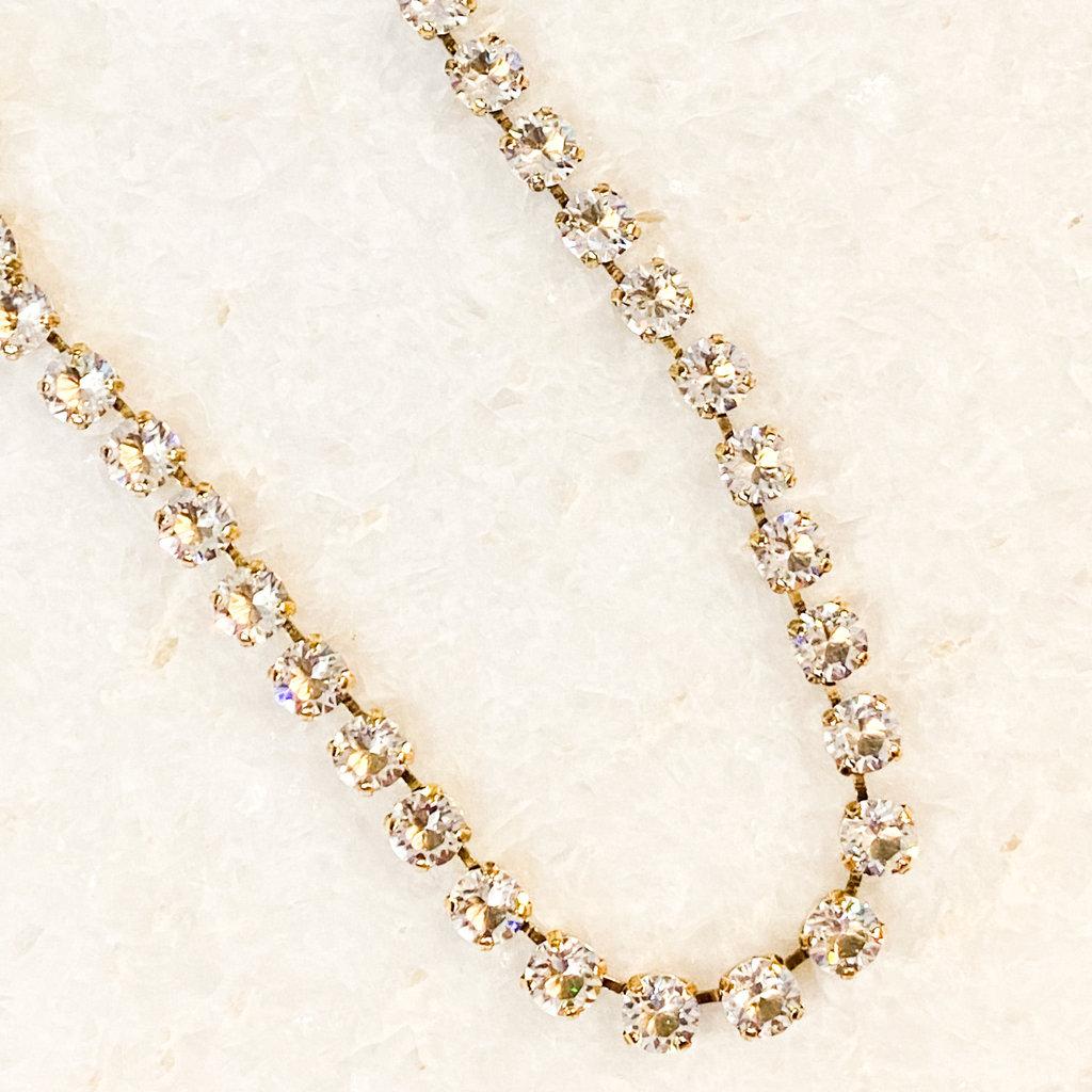 Tova Antique Gold Plated Brass Clear Swarovski Crystal Necklace