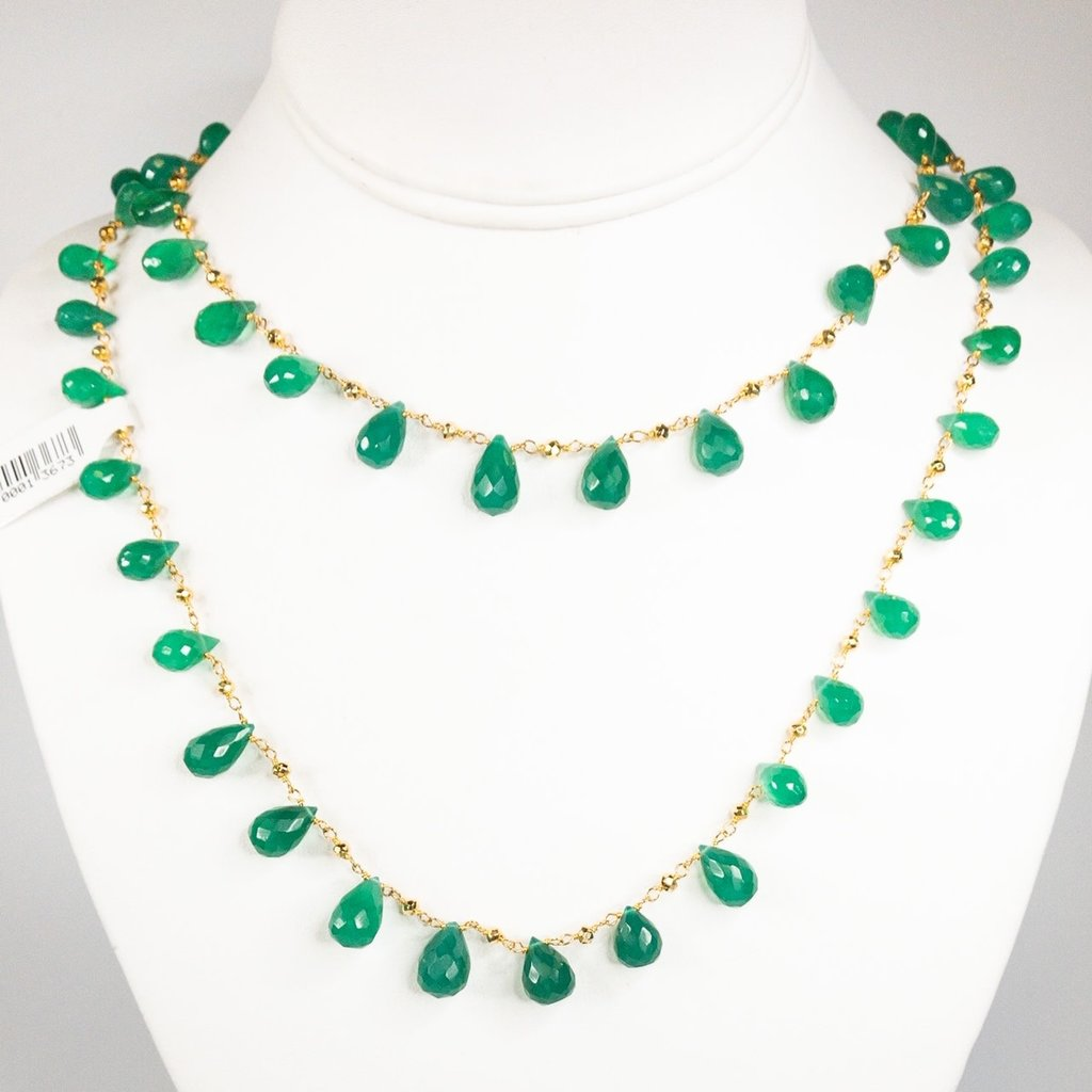 Benazir Collection Labrez Necklace Green Onyx