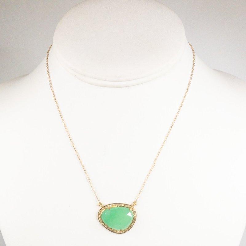 Benazir Collection Giselle Necklace Chrysopase + Diamonds