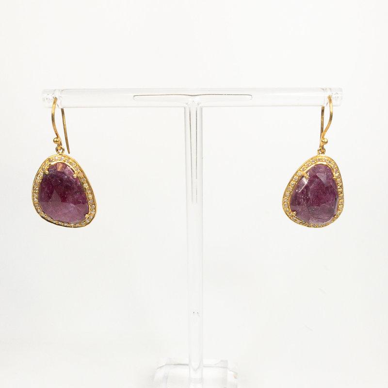 Benazir Collection Margot Earrings Ruby