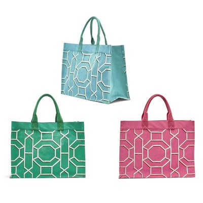 Two's Company Chinoiserie Green Canvas Tote