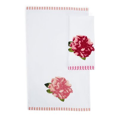 Two's Company Rosy Dishtowel with Pink