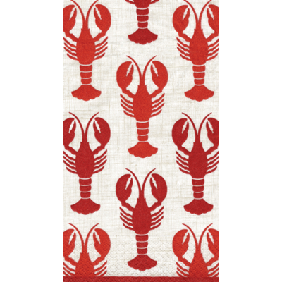 Caspari Lobsters Guest Towel