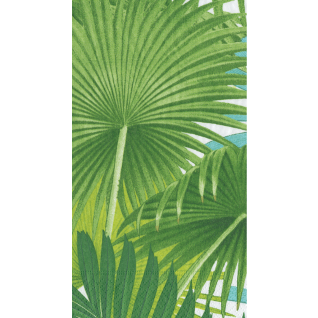 Caspari Palm Fronds White Guest Towel