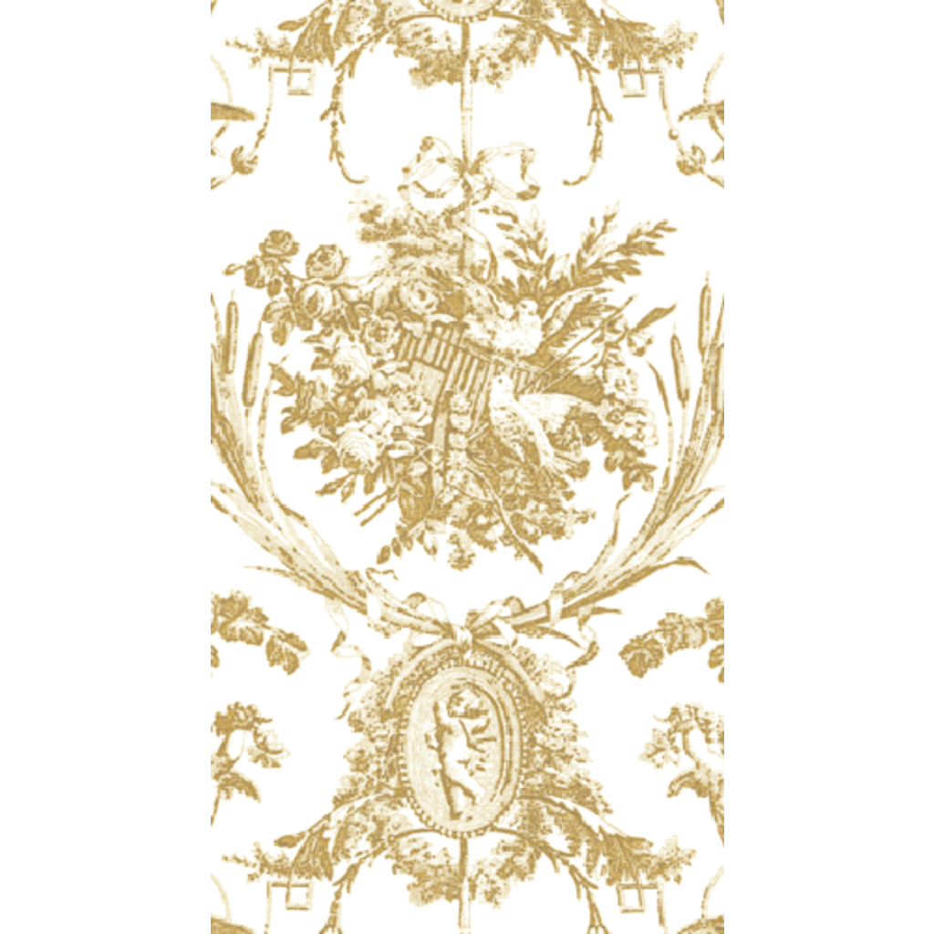 Caspari ROMANTIC TOILE GOLD-PAPER LINEN - GUEST TOWELS AIRLAID - 12 IN