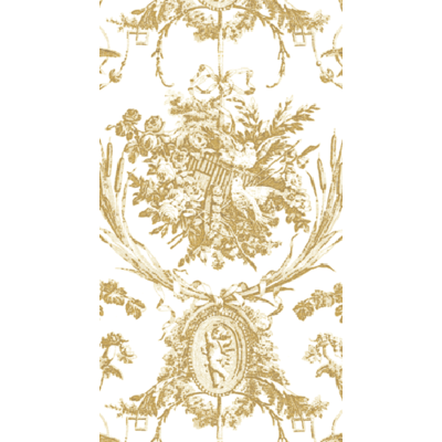 Caspari ROMANTIC TOILE GOLD-PAPER LINEN - GUEST TOWELS AIRLAID - 12 IN