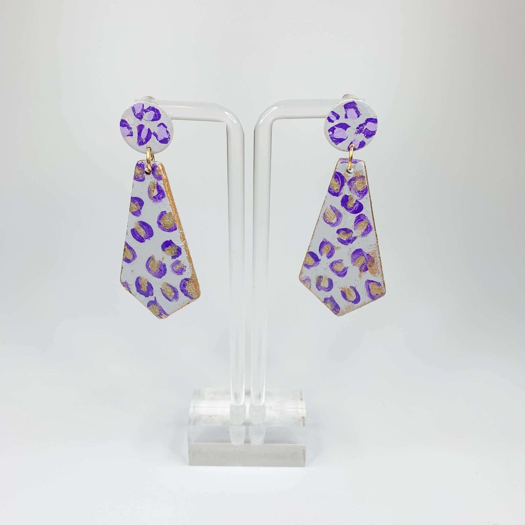 Laura McClendon Handpainted Leopard Purple