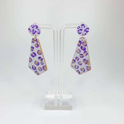 Laura McClendon Handpainted Leopard Purple