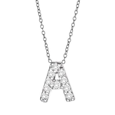 Maya J Jewelry M'' Silver and Diamond Initial Necklace